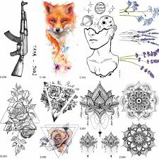 Children Cartoon Temporary Tattoo Sticker Men Gun Ak47 Waterproof Fake Black Lines Flower Mountain Cute Tattoo Women Kids Planet