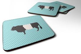 set of 4 belted galloway cow blue check foam coasters set of 4