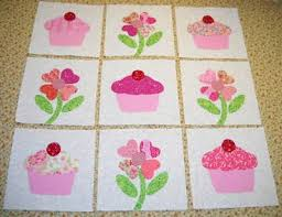 24 best Cupcake Quilts images on Pinterest | Quilting ideas ... & Set of 9 Pink Flower & Cupcake Quilt Blocks Adamdwight.com