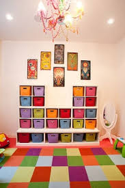 Great idea --> Colorful carpet hides stains in a playroom.