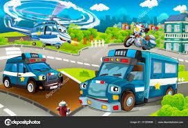 Polizei Maschinen Lkw Motorräder Und Helikopter Stockfoto
