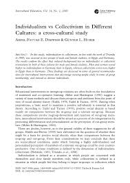 individualism vs collectivism in different cultures a cross  collectivism in different cultures a cross cultural study pdf available
