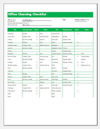 Commercial Office Cleaning Checklist Template Word Excel Templates
