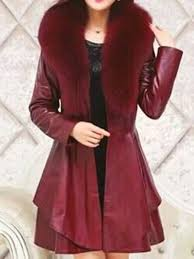 red sashes fur collar long sleeve going out pu leather coat outerwears tops