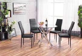 novara chrome round glass dining table with 4 montero dining chairs set