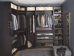 Walk In Closet Furniture Furniture Lovely Big U Shape Dark Grey Walk In Closet Ikea Systems With Full Of Clothes Shoes Mirror And Small Chair W