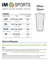 Elbow Sleeve Size Chart Im Sports Gridiron Football Elbow Compression Sleeve
