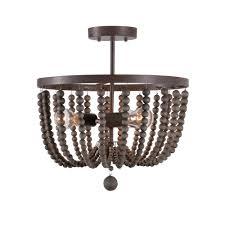 Beaded Flush Mount Ceiling Light Kenroy Home Dumas 3 Light Golden Bronze Wood Bead Semi
