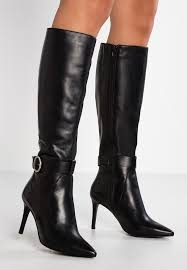 high heeled boots black