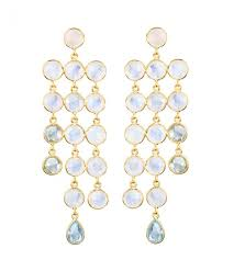 osprey london the vienna gold and pale gemstone cascade chandelier earrings