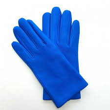 leather gloves of lamb blue of france capucine