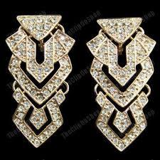 clip on 2 long chandelier earrings aztec crystal glass rhinestone gold fashion