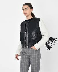 kirk embroidered textured leather biker jacket with fringe and stud detail isabel marant Étoile