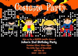 Superhero Costume Birthday Invitations Halloween Party