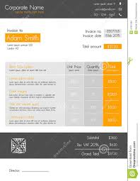 Invoice Style Invoice Template Clean Modern Style Of Orange And Grey Stock 22
