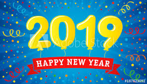 2019 lettering balloons on colorful confetti and ribbon Happy New ...