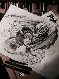 Girl Dragon Black And Grey Sketch девушка и дракон рисунок