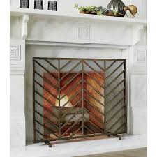 chevron brass fireplace screen bold chevrons lend a mid century look to ana