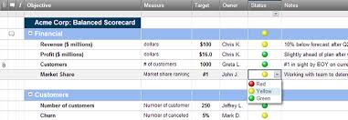 Scorecard Templates Excel Balanced Scorecard Dashboard Template Smartsheet
