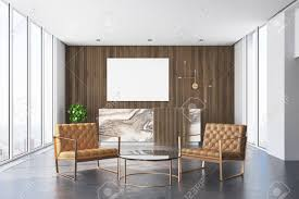 Wood Office Counter Design Wooden Office Interior With A Concrete Floor And A Marble And