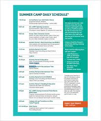Summer Daily Schedule Template 13 Camp Schedule Templates Pdf Doc Free Premium Templates