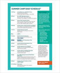 Summer Camp Weekly Schedule 13 Camp Schedule Templates Pdf Doc Free Premium Templates