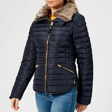 joules women s gosling short padded coat with faux fur trimmed hood navy womens clothing thehut com
