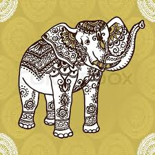 Elephant Pattern Adorable Elephant With A Traditional Pattern In The Style Of Mehendi India