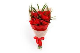 <b>Букет</b> с розами и герберой <b>Алая вспышка</b> заказать цветы с ...
