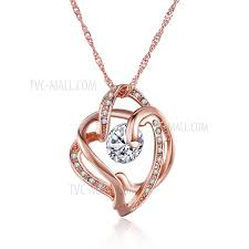 n125 delicate zircon decor romantic heart shaped pendant necklaces for female rose gold plated tvc mall com