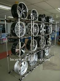 Alloy Wheel Display Stand Adjustable Free Standing Display Stand Rack For Mag Wheel Rims 14