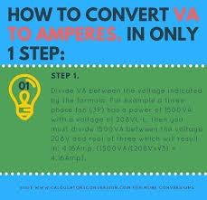 Kw To Amps Conversion Chart Volt Amp Va To Amp Amperes Convert Conversion