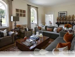 Brown Curtain Grey Sofas Traditional Comfortable Living Room Ideas