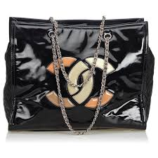 chanel patent leather lipstick tote bag totes leather patent leather black multiple colors ref