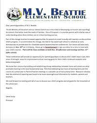 Parent Teacher Goal Setting Letter M V Beattie Elementary