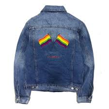 18fw blcg luxury rainbow flag embroidery logo denim jacket outerwear fashion street casual hip hop coat tops hfttjk044 leather jacket mens quilted jackets