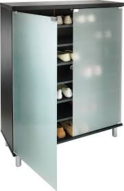 black slimline shoe cabinet with frosted glass doors hygena shoe cabinet with one door open