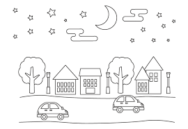 無料の夜の街並みと車のぬりえ ぬりえパーク