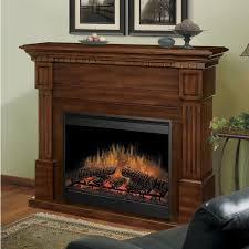 interior dark brown wooden electric fireplace with storage and black metal firebox on the floor