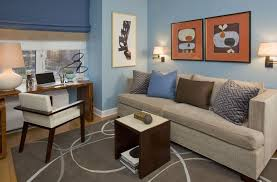home office decorating ideas nyc. Glamorous Futon Sofa Trend New York Contemporary Home Office Decoration Ideas With Blue And Orange Brass Decorating Nyc I