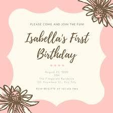 Pink Dainty Floral Girl 1st Birthday Invitation Templates