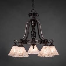 elegante dark granite five light chandelier with italian ice glass