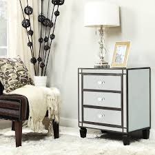 Metro Shop INSPIRE Q Escanaba Mirrored 3-drawer Black Trim Accent  Table-Nihoa Mirrored
