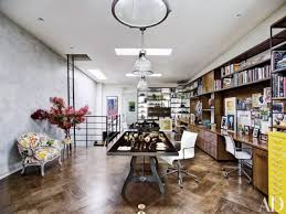 Mahogany finish home office corner shelf Wood Veneer Jewelry Designer Ippolita Rostagnos Home Office Occupies The Top Floor Of Her Brooklyn Brownstone The Pendant Architectural Digest 50 Home Office Design Ideas That Will Inspire Productivity