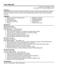 Job Warehouse Job Resume