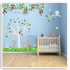 details about monkey animal wall sticker owl jungle zoo tree nursery baby kids room decal art