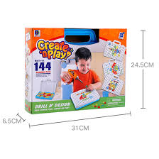 Drill N Design Ilofun Design And Drill Play Toys Creative Educational Toy Stem Preschool Learning Kit 144 Piece Construction Engineering Building Blocks Games Set