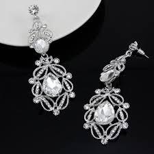 crystal bridal earrings pageant long drop chandelier earrings sparkling earrings silver plated austrian crystal dangling earrings