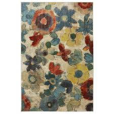 Mohawk Home Wildflower Cream/Multicolor Rectangular Indoor Machine-Made  Inspirational Area Rug (Common