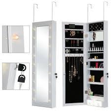 led mirror jewellery cabinet door wall
